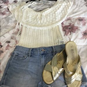 Guess White Off The Shoulder Lace Top